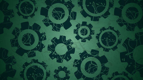 Rotating graphic cogs on green Stock Video Footage