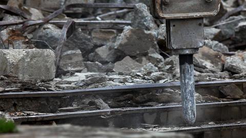 paving breaker destroy stair Stock Video Footage