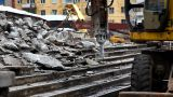 Paving Breaker Destroy Stair stock footage