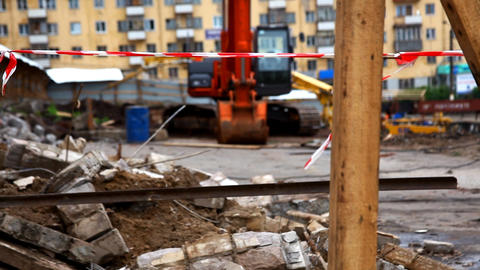 panorama on construction site Stock Video Footage