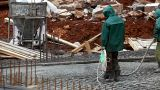 Prepare Foundation With Concrete stock footage