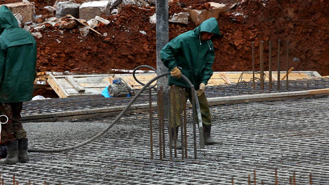 prepare foundation with concrete Stock Video Footage