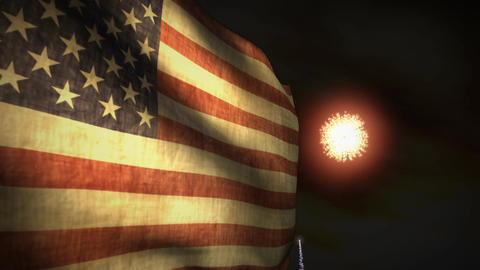 (1192) Fireworks Celebration USA American Flag Sunset... Stock Video Footage