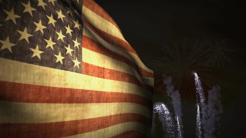 (1192) Fireworks Celebration USA American Flag Sunset... Stock Video Footage