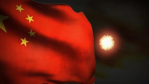 (1195) Fireworks Celebration Communist China Flag Sunset... Stock Video Footage