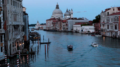 View on channel from Rialto bridge sunset Stock Video Footage