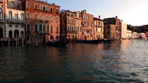 Venice, sea, gondola, sunset Stock Video Footage