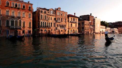 Venice, sea, gondola, sunset Stock Video Footage