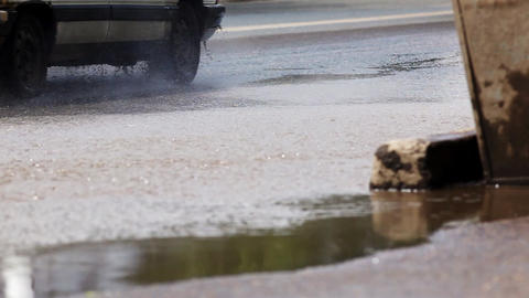 puddle on street Stock Video Footage