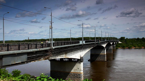 Bridge over Vyatka River time lapse Footage