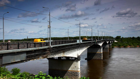 Bridge over Vyatka River time lapse Stock Video Footage