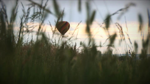 (1196) Hot Air Balloon Over Grassy Field Pasture Sunrise Stock Video Footage