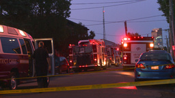 HD2008-8-1-2 Fire scene early dawn Stock Video Footage