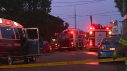 HD2008-8-1-2 Fire scene early dawn Stock Video Footage
