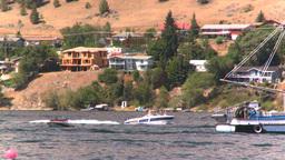 HD2008-8-3-19 Okan Lake motorboats Stock Video Footage