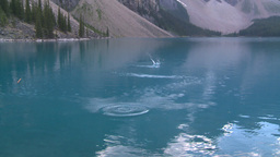 HD2008-8-7-26 Moraine lake skipping stone Stock Video Footage