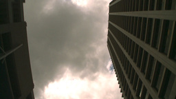 HD2008-8-8-12 drive up DT buildings clouds Stock Video Footage