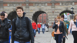 Gdansk, Poland. Tourists walking in the old town Live Action