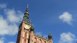 Gdansk. The town hall with fast moving clouds Footage