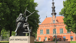Johannes Hevelius Monument In Gdansk, Poland 2 stock footage