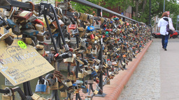 Gdansk, Poland The Bridge Of Love 3 stock footage