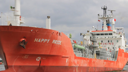 Happy Bride LPG Tanker Enters Port In Gdansk stock footage