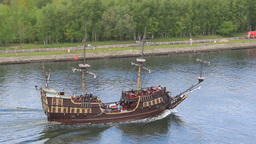 Passenger Ship Stylized On XVI Century Galleon stock footage