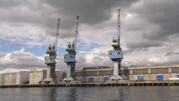 Harbor cranes, shipyard in Gdansk, Poland Footage
