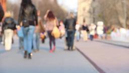People in the city, europe. Defocused Footage