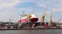 Harbor Cranes, Shipyard And Docks In Szczecin stock footage