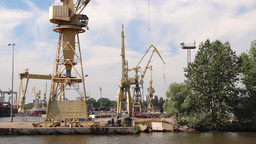 Harbor Cranes, Shipyard And Docks In Szczecin stock footage