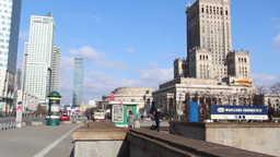 Warsaw - city center. Static shot Footage