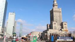Warsaw - city center. Tilt down shot Footage