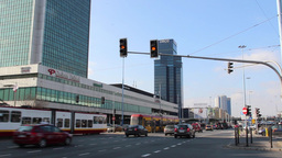 Warsaw, Poland. Busy intersection in the city cent Footage
