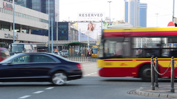 Warsaw, Poland. Busy Intersection In The City Cent stock footage
