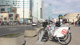 Warsaw, Poland. City bikes and modern buildings Footage