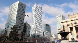 Warsaw, Poland. Modern buildings in city center Live Action