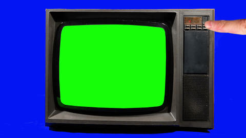 Old Television, Turning Channels. Green Screen Footage