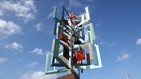 Metal sculpture on the La Puntilla seafront Footage