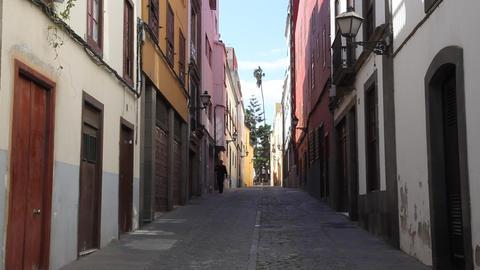 Old narrow street in Las Palmas de Gran Canaria Live Action