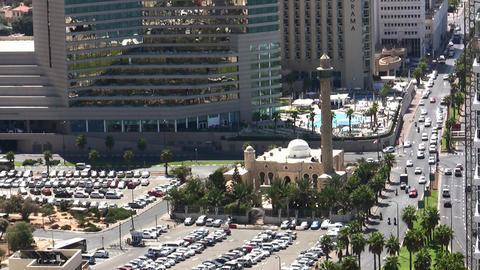 Hassan Bek Mosque, Tel Aviv Jaffa Skyline aerial Footage
