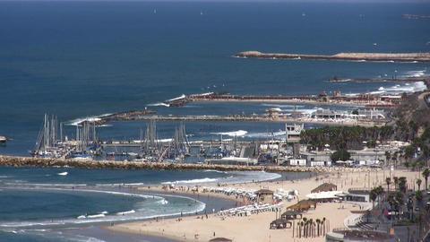 Tel Aviv beaches and marina aerial Footage