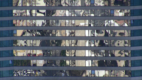 Reflection in glass building Footage