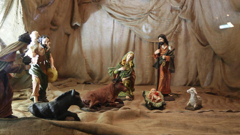 The birth of Jesus scene inside the Christmas tree Footage