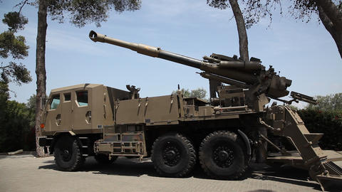 Truck Mounted Howitzer By Soltam stock footage