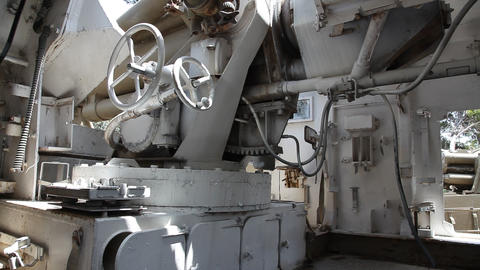 Inside Of An Old Self Propelled Artillery stock footage