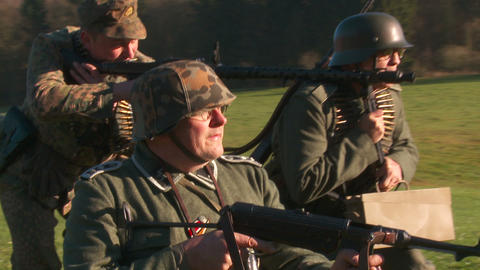 World War 2 German Soldiers aiming with machine gu Footage