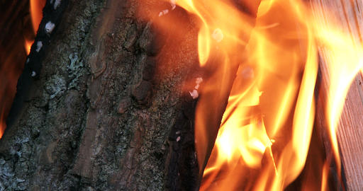 Wood burning in fire pit on a camp site Footage