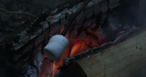 Roasting marshmallows on fire Footage