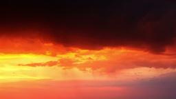 Thunderstorm at Orange Sunset Footage